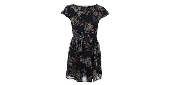 Dámské černé šaty s potiskem ptáčků a květů Uttam Boutique