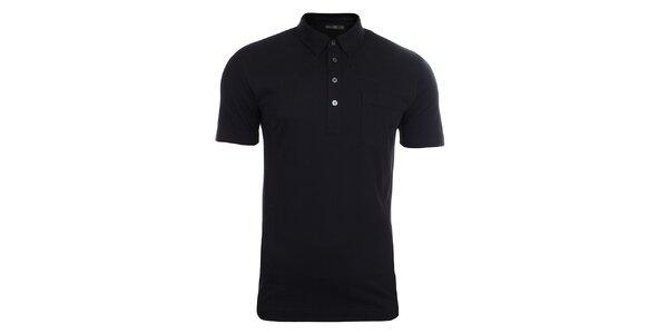 Pánské černé polo tričko s náprsní kapsou Pietro Filipi