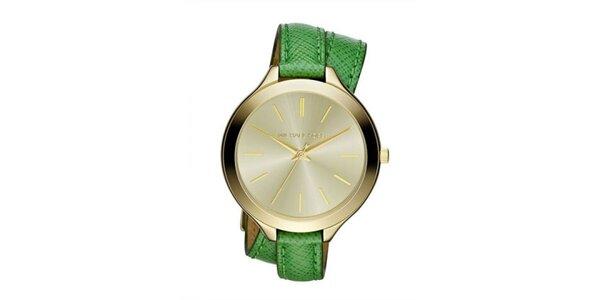 Dámské analogové hodinky se zeleným koženým páskem Michael Kors