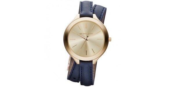 Dámské analogové hodinky s modrým koženým páskem Michael Kors