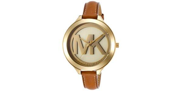 Dámské pozlacené hodinky s hnědým koženým řemínkem Michael Kors
