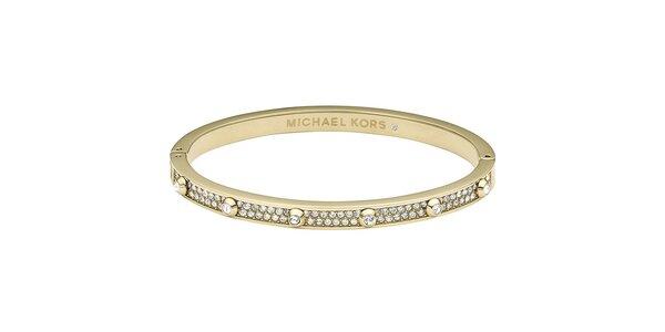 Dámský ocelový náramek s krystalky Michael Kors - zlatá barva