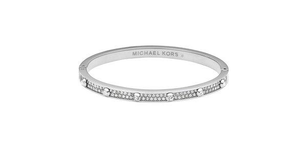 Dámský ocelový náramek s krystalky Michael Kors - stříbrná barva