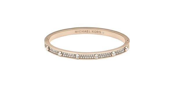 Dámský ocelový náramek s krystalky Michael Kors - růžově zlatá barva