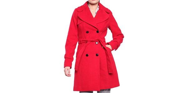 Dámský červený dvouřadý kabát s páskem Vera Ravenna