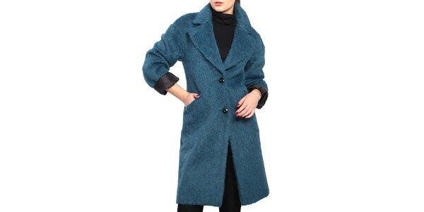 Dámský modrý chlupatý kabát Vera Ravenna