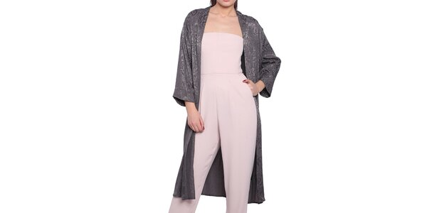 Dámský šedý lehký kabát s elegantním vzorem Vera Ravenna