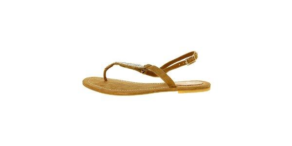 Dámské světle hnědé semišové sandály Luna Llena s kamínky