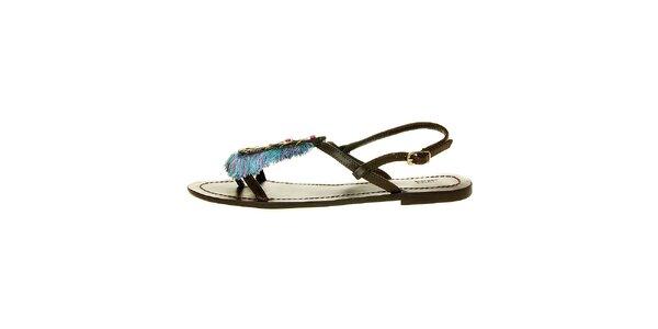 Dámské tmavě hnědé sandály Luna Llena s barevnými třásněmi