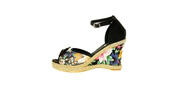 Dámské černé páskové boty Luna Llena s jutovým klínem a barevným potiskem s…