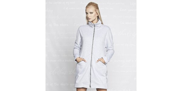Dámský šedý kabátek s kapsami Paphia