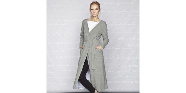 Dámský šedý dlouhý kabát Paphia