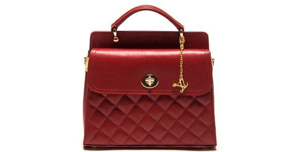 Dámská červená kabelka s prošíváním Luisa Vannini