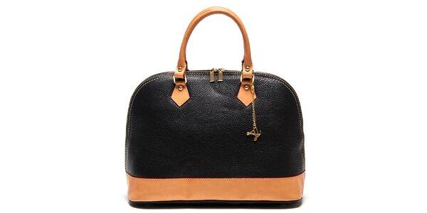 Dámská černá kabelka s přívěskem a kontrastními detaily Luisa Vannini