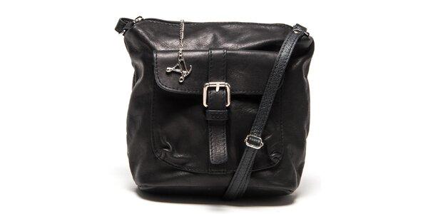 Dámská černá kožená kabelka s kapsou Luisa Vannini