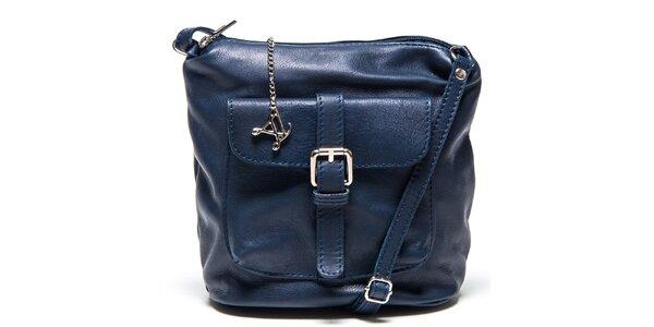 Dámská modrá kožená kabelka s kapsou Luisa Vannini