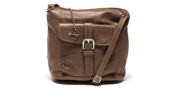 Dámská hnědá kožená kabelka s kapsou Luisa Vannini