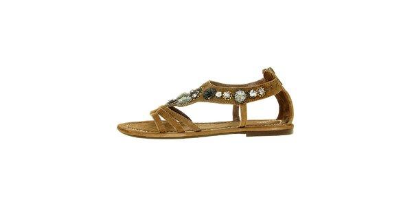Dámské světle hnědé semišové sandály Luna Llena