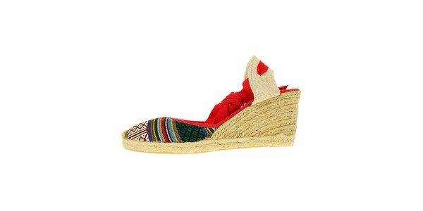 Dámské červené sandály Luna Llena s jutovým klínem