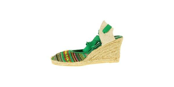 Dámské zelené sandály Luna Llena s jutovým klínem
