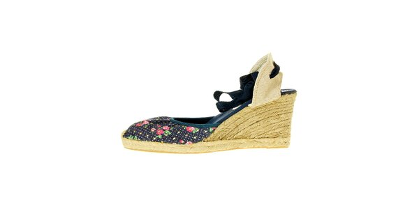 Dámské tmavě modré textilní sandály Luna Llena s jutovým klínkem