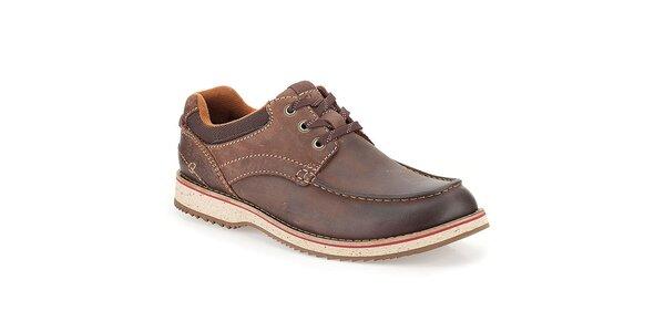Pánské prošívané hnědé kožené boty Clarks
