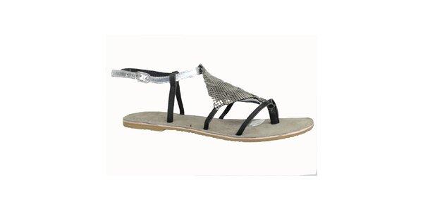 Dámské kožené černo-stříbrné sandálky Bullboxer