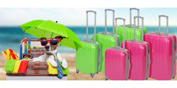 3 moderní kufry v neonových barvách
