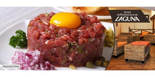 Dvojitý tatarský biftek (240 g) + neomezeně topinek