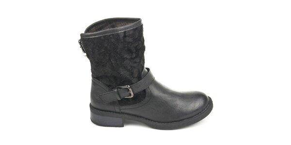 Dámské černé boty s vnějším kožíškem Destroy