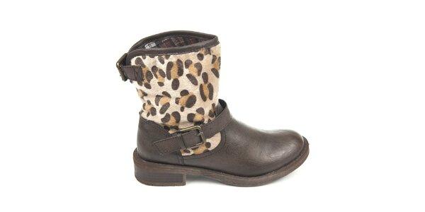 Dámské hnědé boty s vnějším vzorovaným kožíškem Destroy
