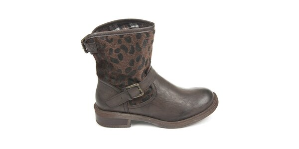 Dámské tmavě hnědé boty s vnějším vzorovaným kožíškem Destroy