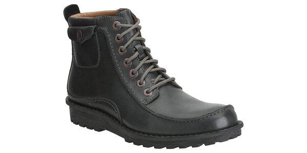 Pánské černé kožené kotníkové boty Clarks