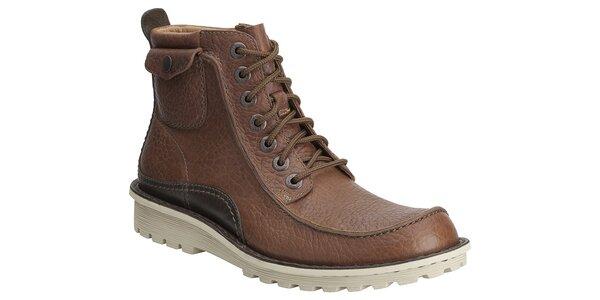 Pánské hnědé kožené kotníkové boty Clarks