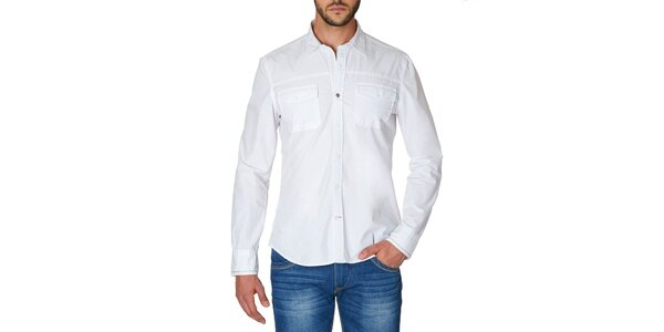 Pánská bílá košile s náprsními kapsami Paul Stragas