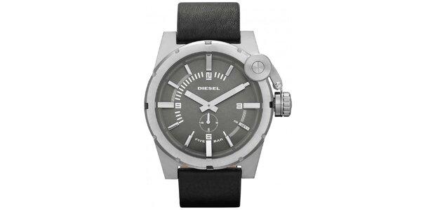 Pánské ocelové hodinky s černým páskem Diesel