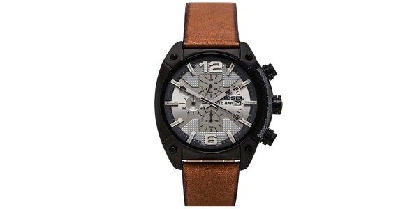 Pánské hodinky s hnědým páskem Diesel