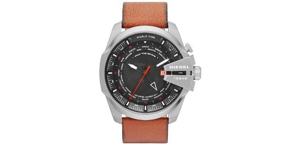 Pánské masivní hodinky s hnědým řemínkem Diesel