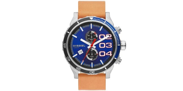 Pánské hodinky s modrým ciferníkem a světle hnědým řemínkem Diesel