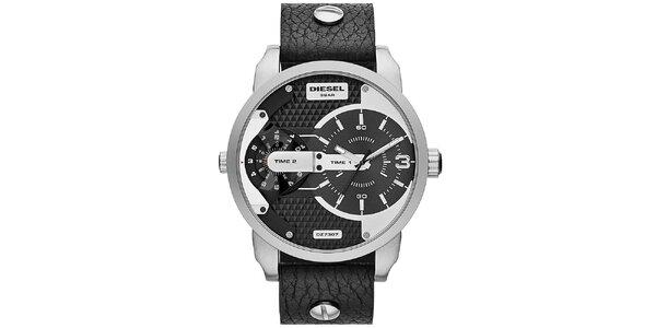 Pánské stříbrno-černé hodinky Diesel