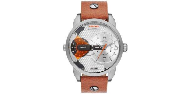Pánské stříbrno-hnědé hodinky Diesel