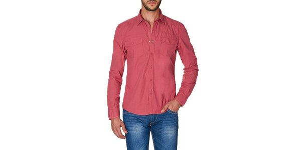 Pánská červená košile s náprsními kapsami Paul Stragas