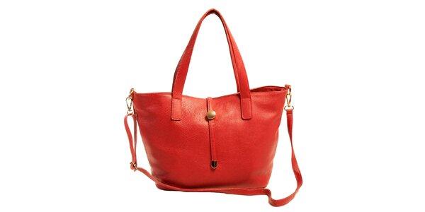 Dámská červená kožená kabelka Joana and Paola