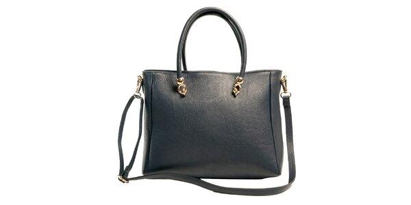 Dámská tmavomodrá prostorná kabelka z kůže Joana and Paola