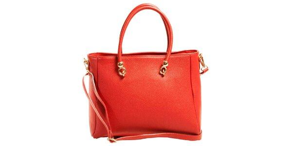 Dámská červená prostorná kabelka z kůže Joana and Paola