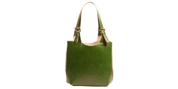 Dámská kožená kabelka v zelené barvě Joana and Paola