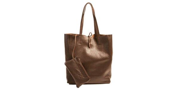 Dámská tmavě hnědá kožená kabelka s kapsičkou Joana and Paola
