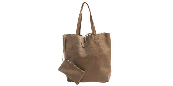 Dámská šedá kožená kabelka s kapsičkou Joana and Paola