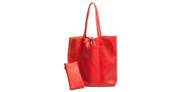 Dámská červená kožená kabelka s kapsičkou Joana and Paola