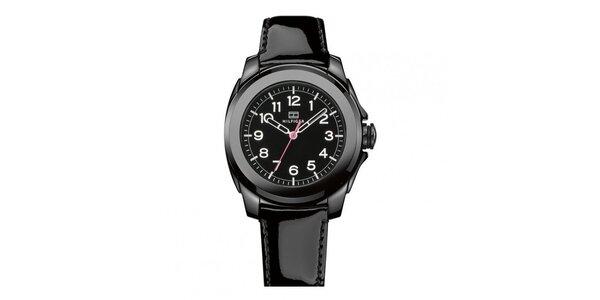Dámské černé keramické hodinky s lesklým řemínkem Tommy Hilfiger